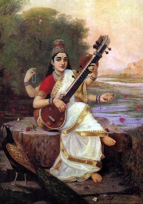 Painting of the Goddess Saraswati by Raja Ravi Varma, 1896 AD.