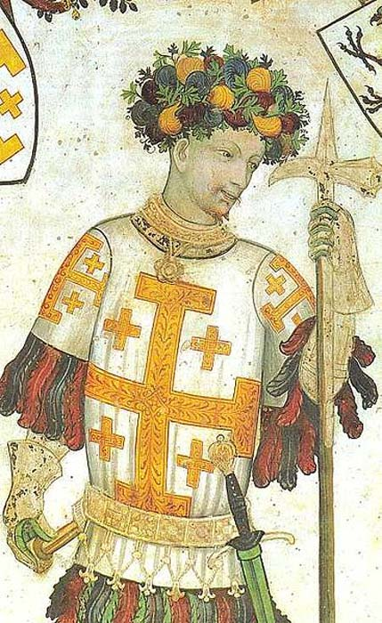 Godfrey of Bouillon, from a fresco painted by Giacomo Jaquerio in Saluzzo, northern Italy, in 1420.