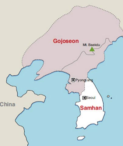 "Map of ""Gojoseon Kingdom"" printed in the Korea Times in 2011."