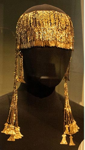 "One of the prize treasures of the Priam hoard. Golden diadem with pendants in the shape of ""idols"""