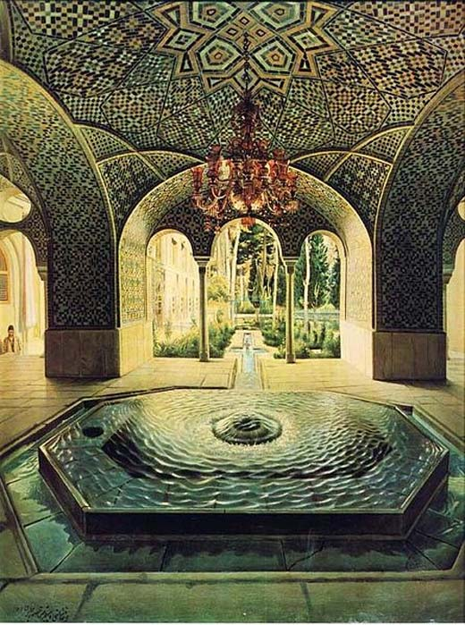 """Golestan palace springhouse"" (1889) painting by Kamal-ol-molk."