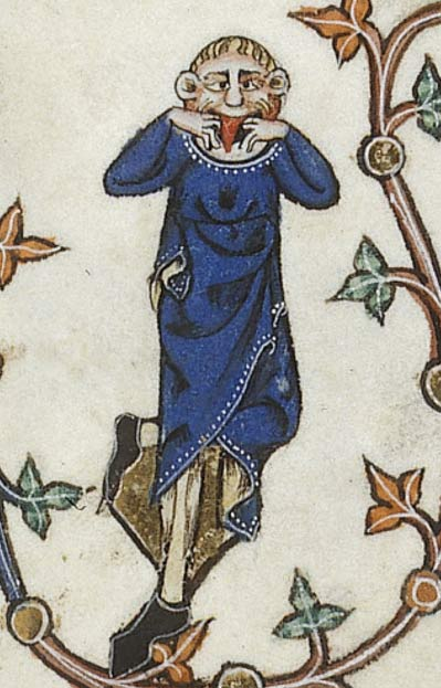 One example of a bizarre character visible in the marginalia of the Gorleston Psalter (14th Century).