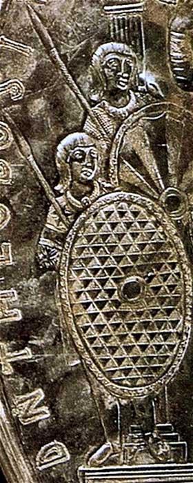 Gothic soldiers (Missorium of Theodosius I). (CC0)