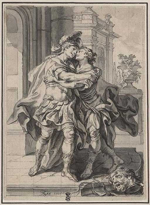 Gottfried Bernhard Göz: Jonathan greeting David after David killed Goliath.