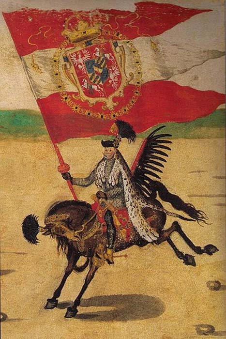 Grand Standard Bearer of the Crown / Winged Hussar at the wedding procession of King Sigismund III. (Mareczko / Public Domain)