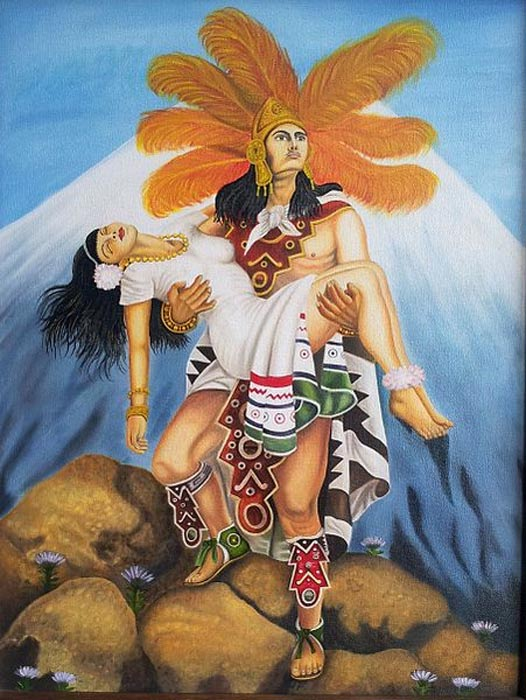 """Replica of """"Grandeza Azteca"""" (Aztec greatness) by painter Jesús Helguera, depicting the legend of Popocatepetl and Iztaccihuatl."""
