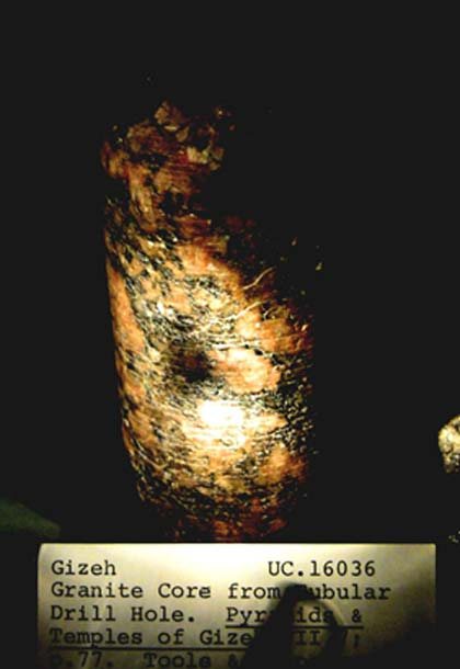 Granite drill core in the Petrie Museum. (Author provided)