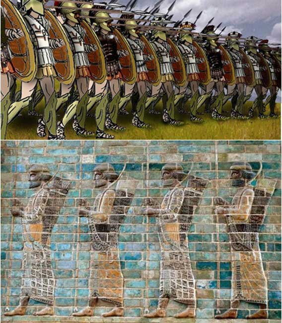 Top: A Greek phalanx formation. Bottom: Four Persian warriors of 'The Immortals', from the glazed brick friezes found in the Apadana (Darius the Great's palace) in Susa.