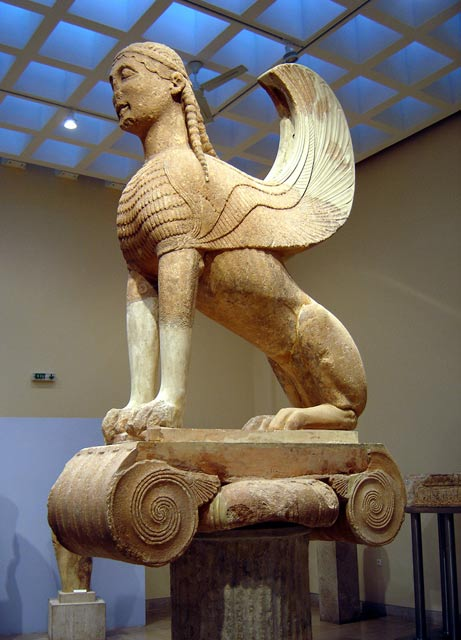 A Greek sphinx from Delphi of about the sixth century BC; scholars say ancient Greek writings and art influenced Asian peoples, who came up with their own versions of sphinxes