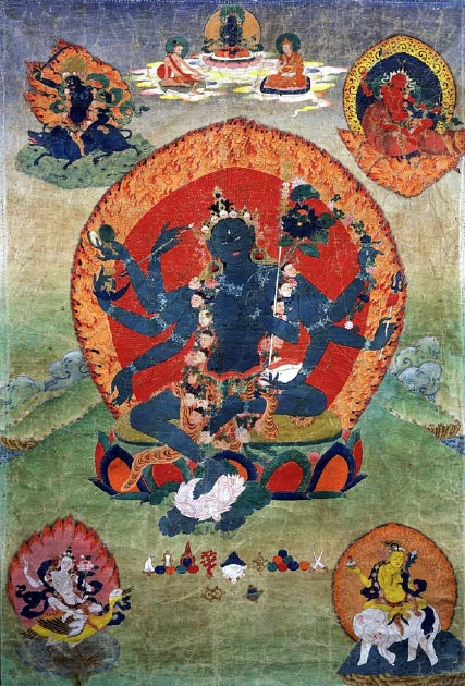 Green Tara in the center and the Blue, Red, White, and Yellow Taras in the corners. (Fountain Posters / Public Domain)