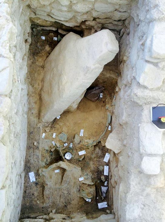 Looking inside the Griffin Warrior tomb, complete with the fallen stone.