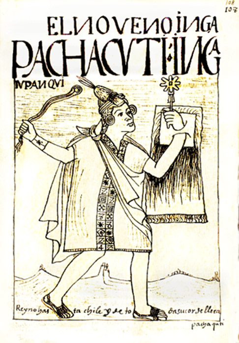 Guaman Poma drawing of Pachacuti, 1615.