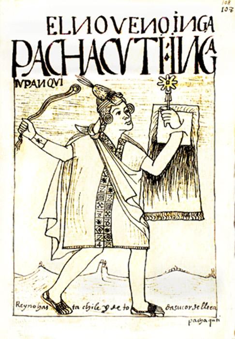 Guaman Poma drawing of Pachacuti, 1615.