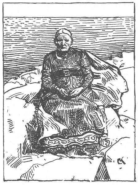 Gunnhild as an old woman. Illustration by Krohg.
