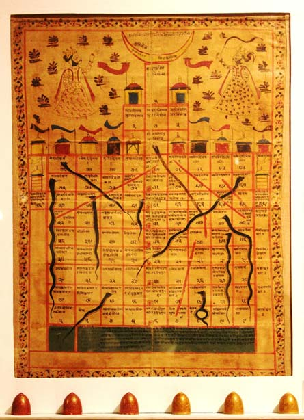 Gyan Chaupar, Late 18th Century Jain game board on cloth in the decorative arts gallery of the National Museum, India. (CC BY-SA 3.0)