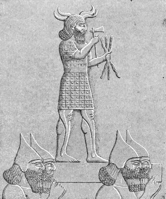 Hadad, God of Weather, Hurricanes, Storms, Thunder, and Rain - Assyrian soldiers carrying a statue of Adad. (Lindert / Public Domain)