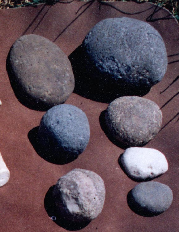 Hammerstones were used to hit and flake bits off other rocks, creating tools for prehistoric cultures. Various representative hammerstones.