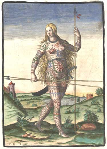 "Hand-colored version of Theodor de Bry's engraving of a Pict woman (a member of an ancient Celtic people from Scotland). De Bry's engraving, ""The True Picture of a Women Picte,"" 1588"
