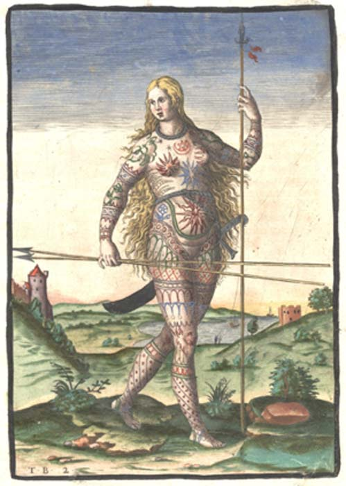 Hand-colored version of Theodor de Bry's engraving of a Pict woman (public domain)