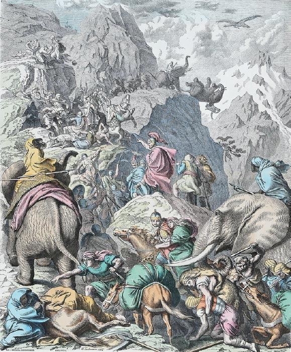 Hannibal's famous crossing of the Alps with war elephants. (Heinrich Leutemann / Public domain)