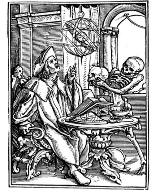 Hans Holbein's Danse Macabre woodcut (1523-25) 'The Astrologer' studying disease. (McLeod / Public Domain)