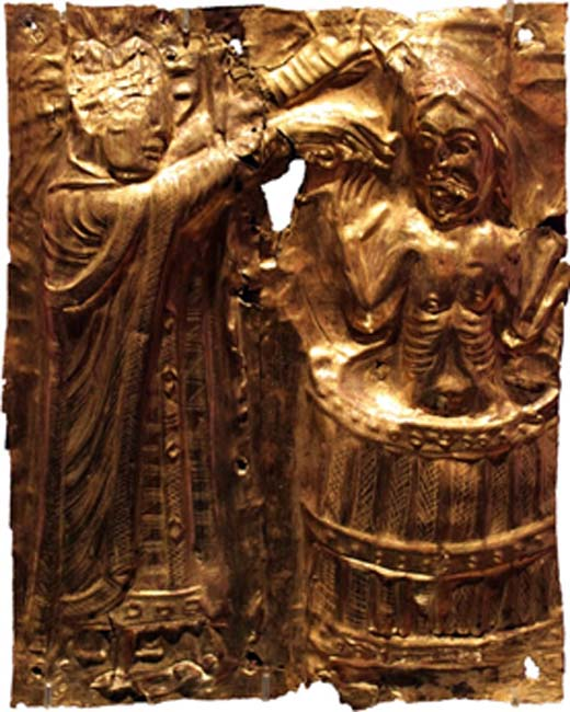 A relief showing Harald Bluetooth being baptized by Poppo the monk.