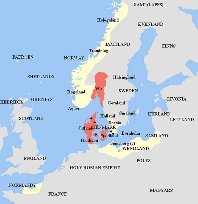 Harald's kingdom (in red) and his vassals and allies (in cream), as set forth in Heimskringla, Knytlinga Saga, and other medieval Scandinavian sources.
