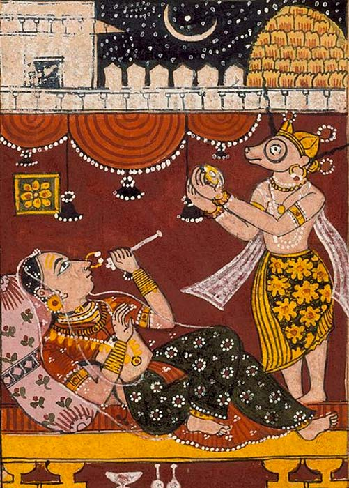 Harinaigameshin Brings the Embryo of Jina Mahavira to Queen Trishala, Folio from a Kalpasutra (Book of Sacred Precepts). (Public Domain)