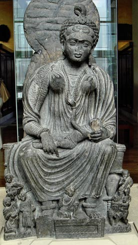 Hariti with infant. Gandhara, 2nd-3rd century, now in the British Museum.