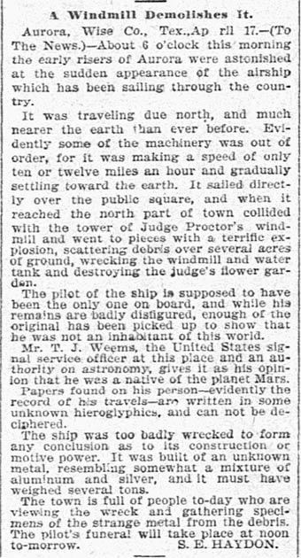 """S. E. Haydon, """"A Windmill Demolishes It,"""" The Dallas Morning News, April 19, 1897, p. 5. (Public Domain)"""