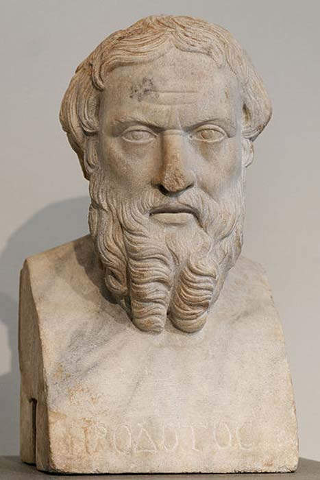 Head of Herodotus; Greek inscription. Roman copy of the Imperial era (2nd century AD) after a Greek bronze original of the first half of the 4th century BC. From Benha (ancient Athribis), Lower Egypt.
