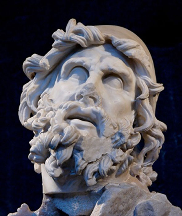 Head of Odysseus from a sculptural group representing Odysseus blinding Polyphemus. From the villa of Tiberius at Sperlonga. Museo Archeologico Nazionale in Sperlonga (Public Domain)