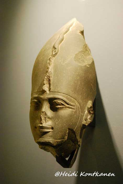 Head of Osiris, Lord of the Underworld, dating to the Twenty-Sixth Dynasty. Every person became Osiris in death. Louvre Museum, Paris.