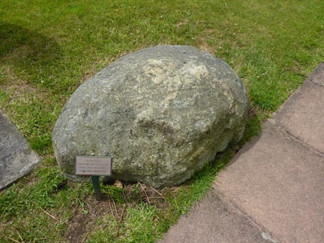 Heavy stone placed on top of a witch burial at St Anne's Church