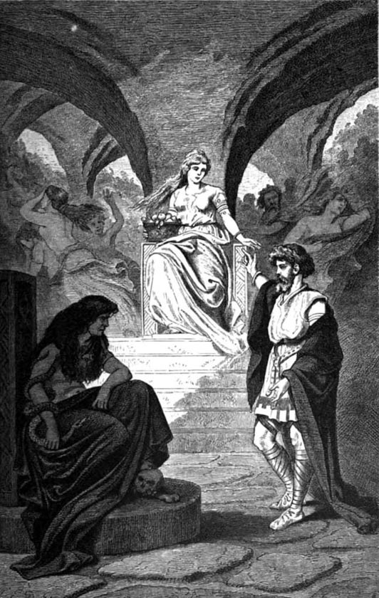 """Heimdallr desires Iðunn's return from the Underworld"" (1881) by Carl Emil Doepler."