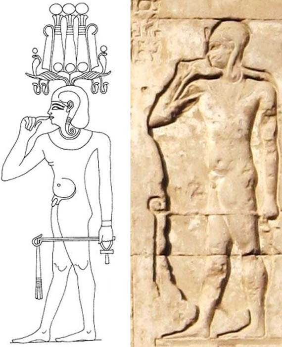 A drawing (Public Domain) and relief (Olaf Tausch/CC BY 3.0) of Heka-pa-chered (Heka the child).