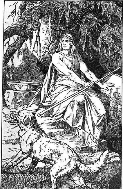 Hel (1889) by Johannes Gehrts, pictured here with her hound Garmr.