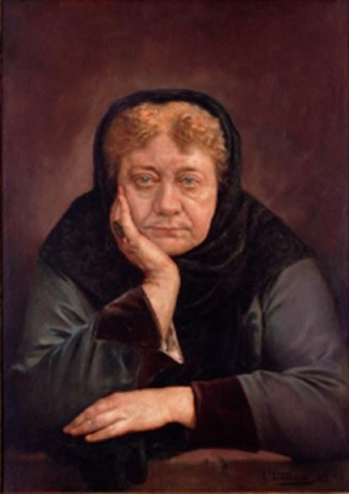 Helena Blavatsky's portrait by Spanish-Costa Rican painter Tomás Povedano (Public Domain)