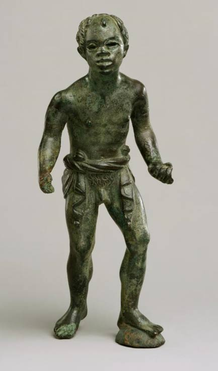 Hellenistic bronze statuette of an African (known as Ethiopian) youth.