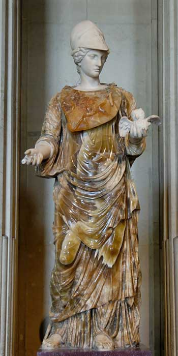 Helmeted Minerva holding a tiny owl. Belisama has been compared to the Roman goddess Minerva.