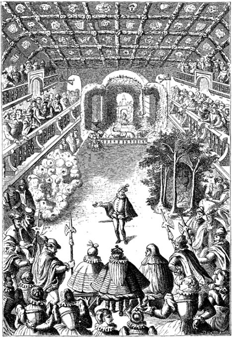 Representation of a Ballet before Henri III and his Court, in the Gallery of the Louvre. Re-engraving from an original on Copper in the 'Ballet comique de la Royne by Balthazar de Beaujoyeulx' (Paris: Ballard, 1582).