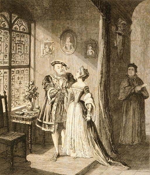 Henry with Anne Boleyn, by George Cruikshank, 19th century.