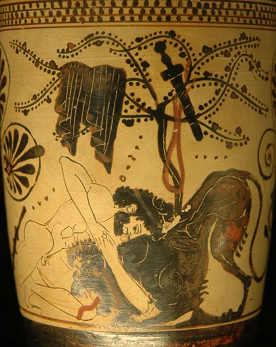 Heracles fighting the Nemean Lion. White-ground lekythos, ca. 500-475 BC.