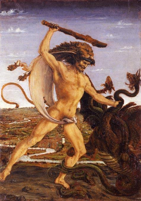 Hercules and the Hydra, c. 1475, Uffizi Gallery