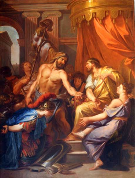 Hercules brings Eurystheus the belt of the queen of the Amazons by Daniel Sarrabat