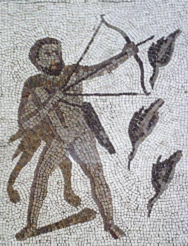 Hércules matando a las aves Stymphalian con flechas tóxicas. Detalle del mosaico romano de Los Doce Trabajos de Liria
