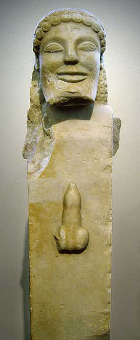 Herm with erect phallus. Marble, ca. 520 BC. From Siphnos.