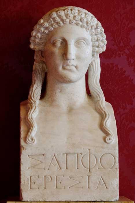 "Hermaic pillar with a female portrait, so-called ""Sappho""; inscription ""Sappho Eresia"" ie. Sappho from Eresos. Roman copy of a Greek Classical original. (Public Domain)"