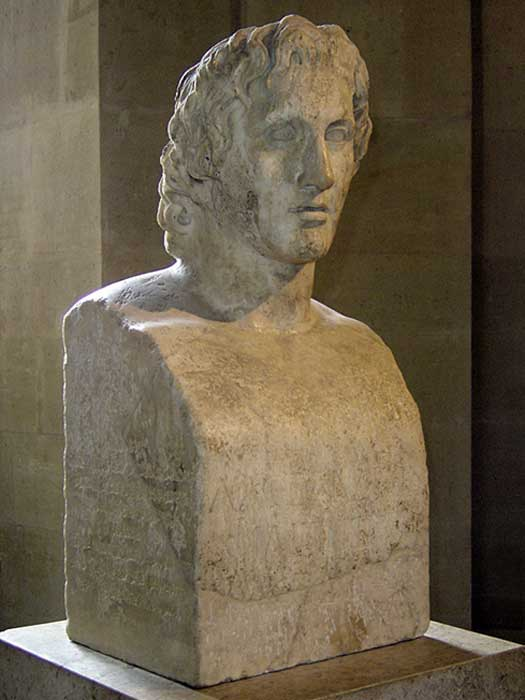 Hermes Azara, a Roman copy of an Alexander bust found at Tivoli, attributed to Lysippos.
