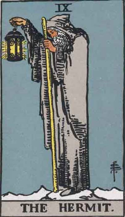 The Hermit Tarot card from the Rider-Waite tarot deck.